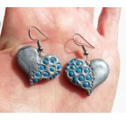 Unique handmade ring and earrings with the pattern of a heart