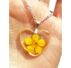 Real Flower Resin Buttercup Necklace Pendant