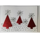 Hand-crafted Chrismas Card - Red Christmas Tree