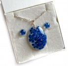 Handmade Resin Forget-Me-Not Necklace Pendant and Earrings